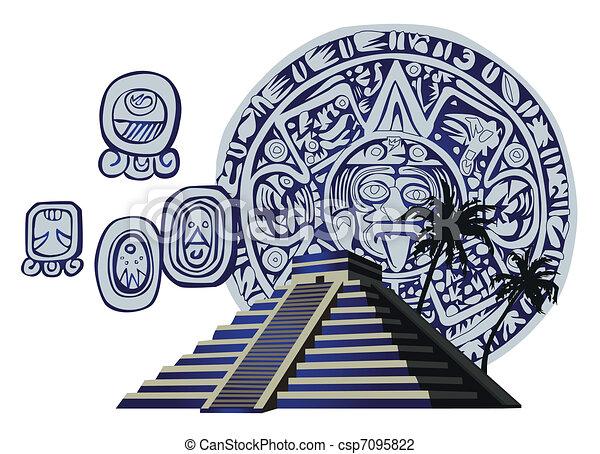 Antique Mayan Pyramid and Glyphs  - csp7095822