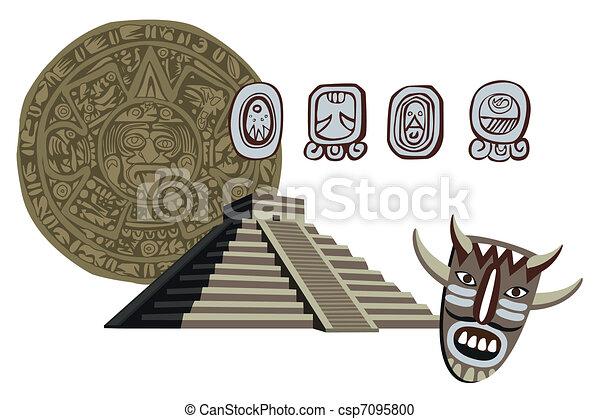 Antique Mayan Pyramid and Glyphs  - csp7095800