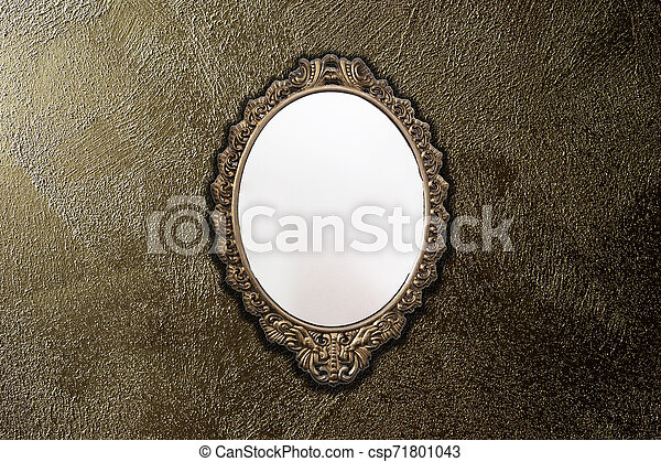Antique Mirror On Gold Wall Background Texture Vintage Design Space For Text