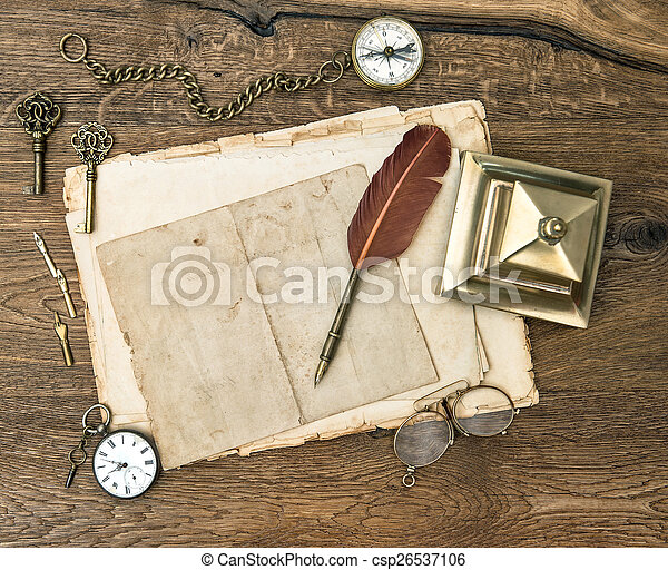 antique office supplies and accessories on wooden table - csp26537106