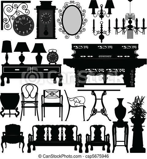 Antique Old Furniture Home House - csp5675946