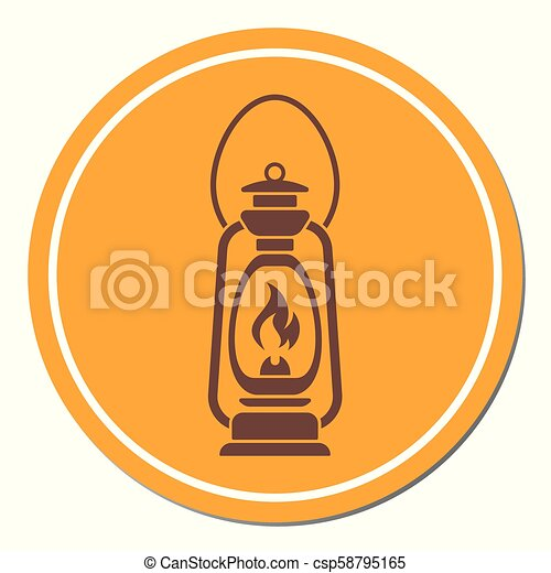 Antique Old Kerosene Lamp isolated. Retro design - csp58795165
