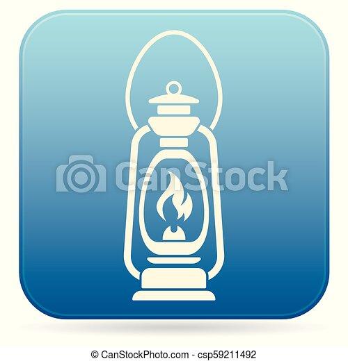 Antique Old Kerosene Lamp isolated. Retro design - csp59211492