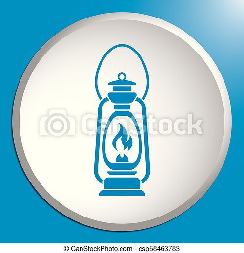 Antique Old Kerosene Lamp isolated. Retro design - csp58463783