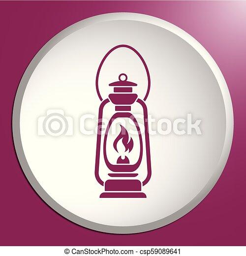Antique Old Kerosene Lamp isolated. Retro design - csp59089641