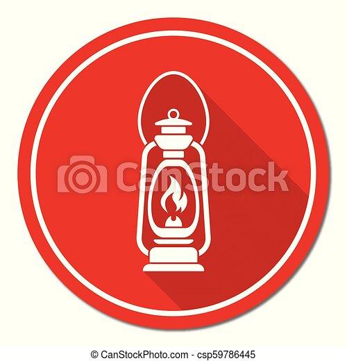Antique Old Kerosene Lamp isolated. Retro design - csp59786445