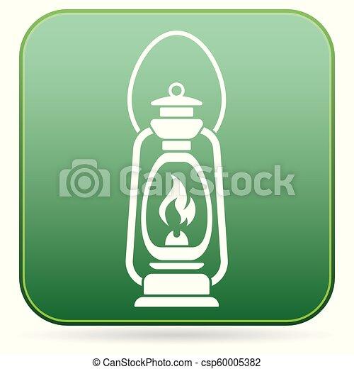 Antique Old Kerosene Lamp isolated. Retro design - csp60005382