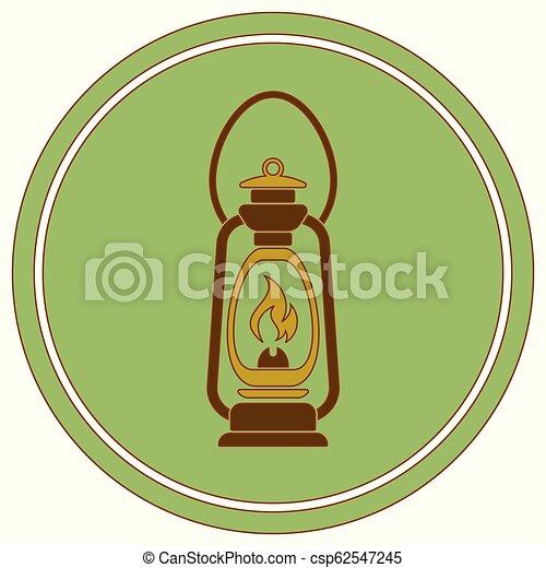 Antique Old Kerosene Lamp isolated. Retro design - csp62547245