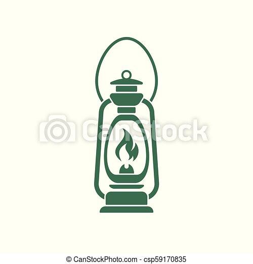 Antique Old Kerosene Lamp isolated. Retro design. Vector illustration. - csp59170835