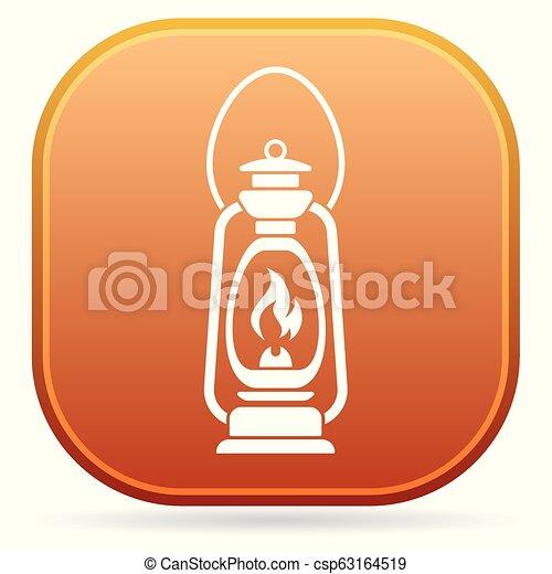 Antique Old Kerosene Lamp isolated. Retro design - csp63164519