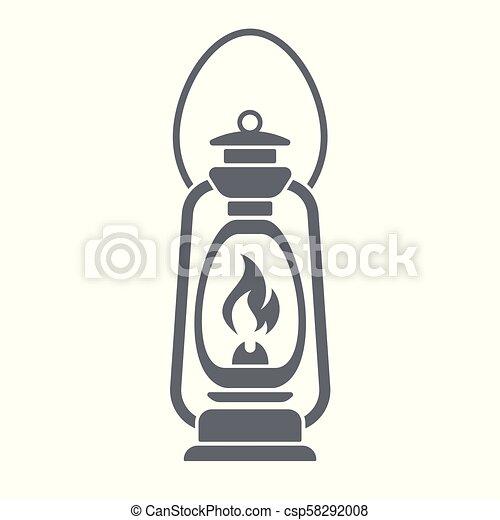 Antique Old Kerosene Lamp isolated. Retro design - csp58292008