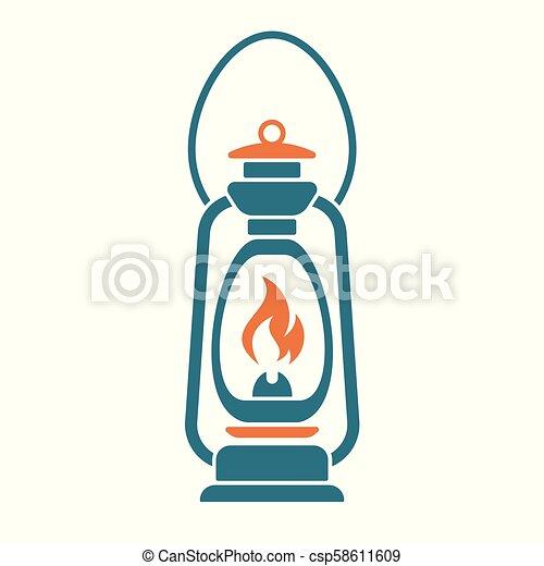 Antique Old Kerosene Lamp isolated. Retro design - csp58611609
