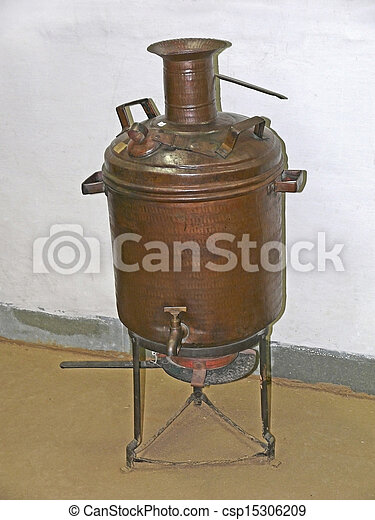Antique old water heater india stock photography for Copper hot water tank