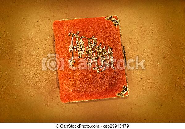 Antique Orange Photo Album - csp23918479