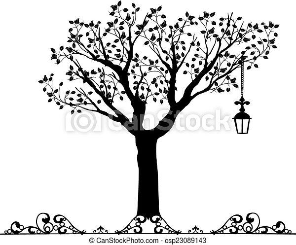 Antique ornament Vectors of a tree - csp23089143