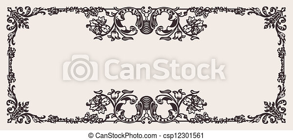 Antique Ornate Frame Scalable And Editable Vector Illustration - csp12301561