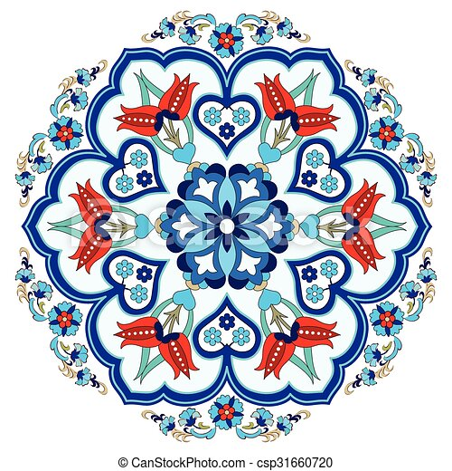 Antique Ottoman Turkish Pattern Vec Colorful Antique Ottoman Beauteous Turkish Pattern