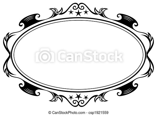 Antique oval frame. Elegance black antique frame isolated on white.