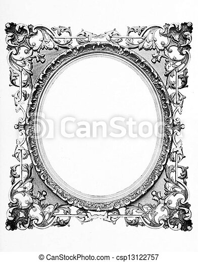 Antique oval frame. Old fashioned oval frame isolated on white.