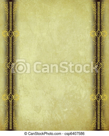 Antique Paper with Gold Scroll work Borders - csp6407586