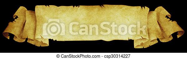 Antique parchment scroll on black background. - csp30314227