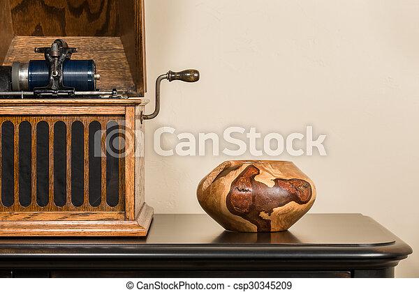 Antique Phonograph with Handmade Decorative Bowl - csp30345209