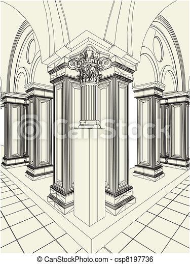 antique pillars   hall vector