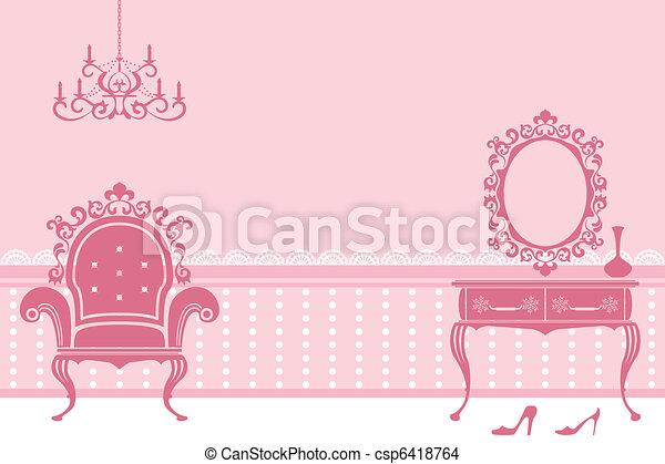 Antique pink interior - csp6418764