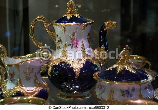 Antique porcelain coffee set in show case - csp6603312