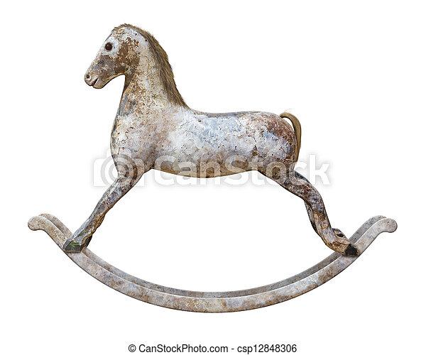 Antique Rocking Horse isolated - csp12848306
