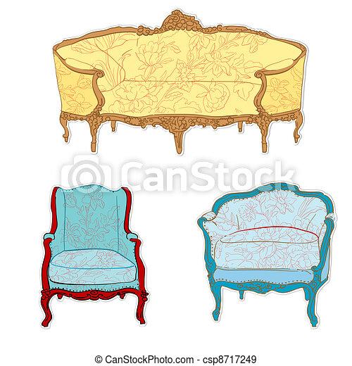 Antique Rococo Furniture Stickers