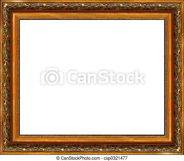 Antique rustic dark golden picture frame isolated - csp0321477