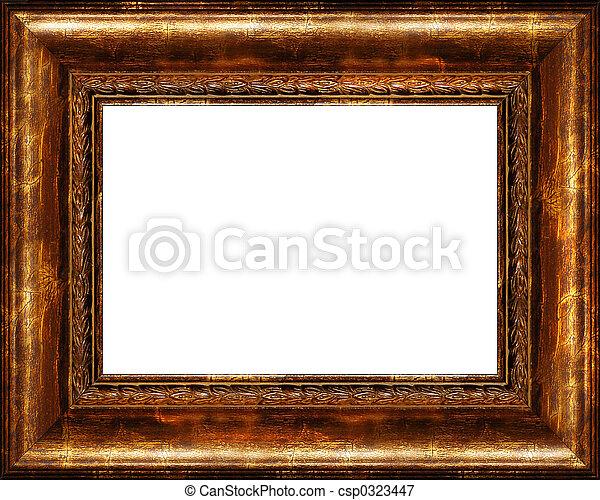 Antique rustic dark golden picture frame isolated - csp0323447