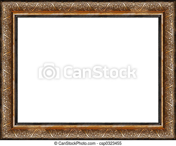 Antique rustic dark golden picture frame isolated - csp0323455