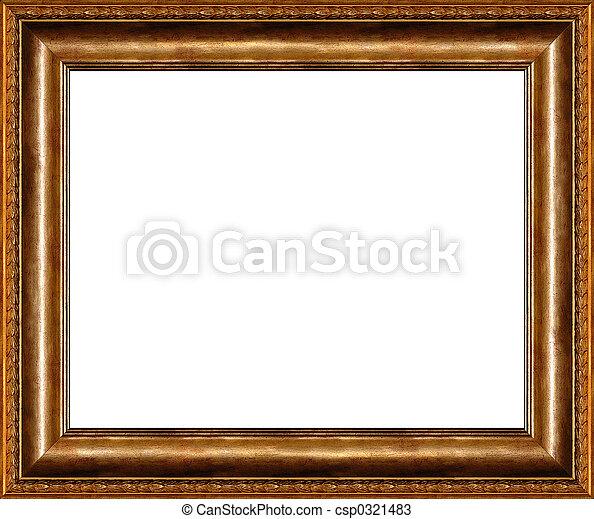 Antique rustic dark golden picture frame isolated - csp0321483
