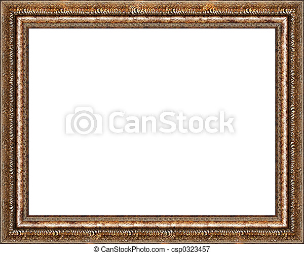 Antique rustic golden picture frame isolated - csp0323457