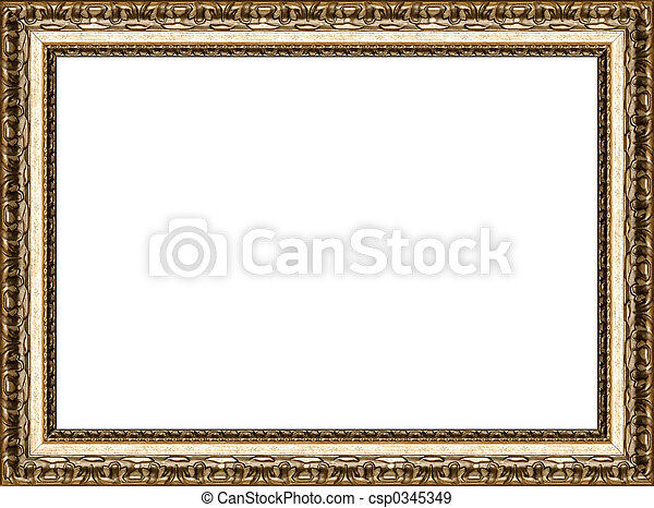 Antique rustic golden picture frame isolated - csp0345349