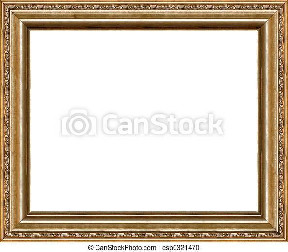 Antique rustic golden picture frame isolated - csp0321470