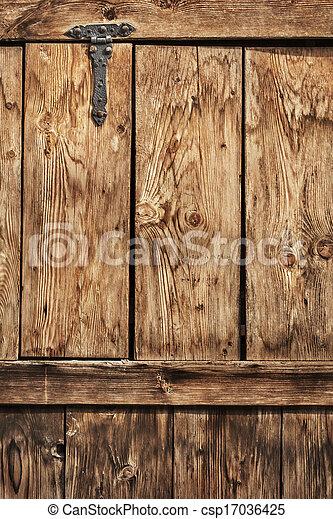 Antique Rustic Pine Wood Door With Wrought Iron Hinge - Detail - csp17036425