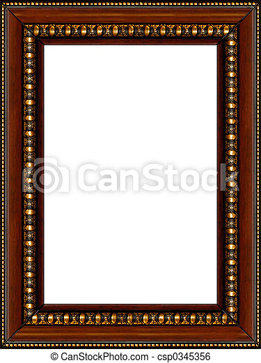Antique rustic wooden picture frame isolated - csp0345356