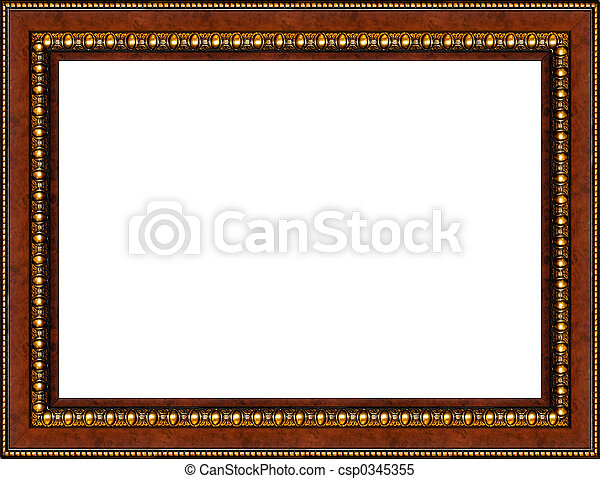 Antique rustic wooden picture frame isolated - csp0345355