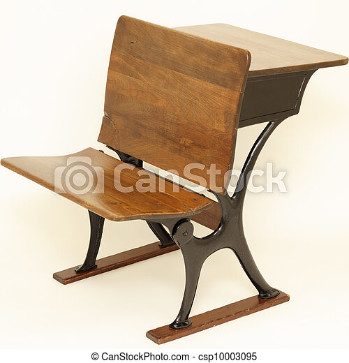Antique School Chair and Desk - csp10003095 - Antique School Chair And Desk. Old Wood And Metal Combination School