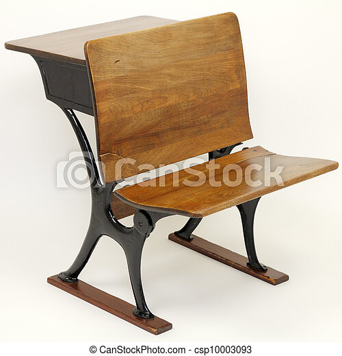 Antique School Desk Chair Combination - csp10003093 - Antique School Desk Chair Combination. One Vintage Metal And