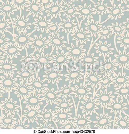 Antique seamless background garden daisy flower - csp43432578