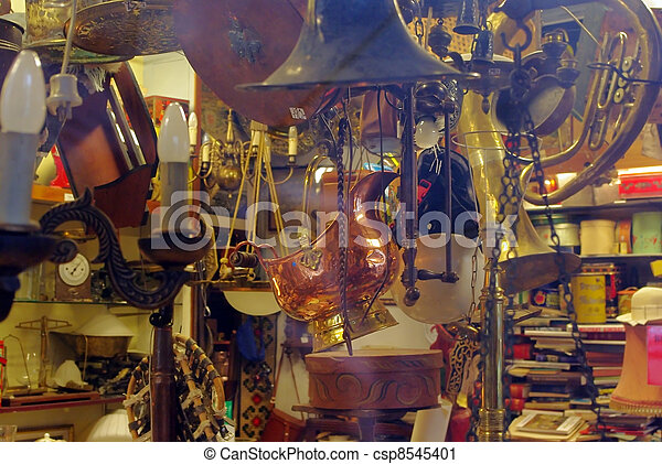 Antique Shop With Old Metal Things - csp8545401