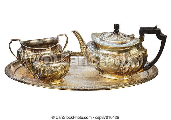 Antique silver tea set isolated on white - csp37016429