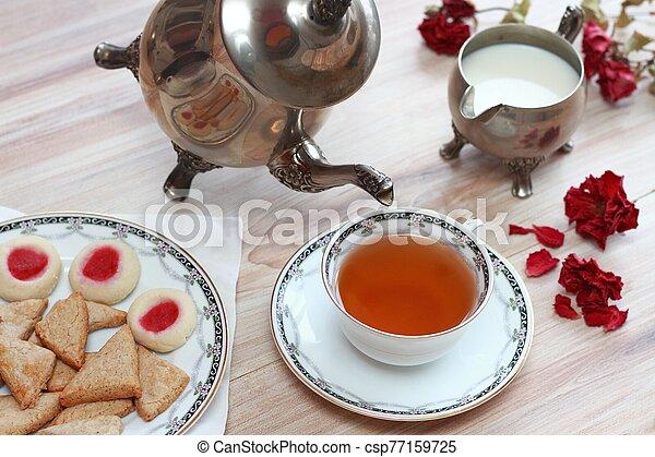 Antique silver teapot set - csp77159725