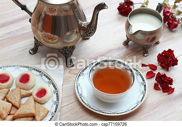 Antique silver teapot set - csp77159726