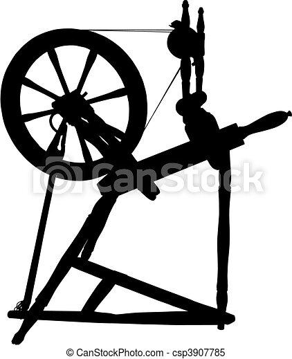 Antique Spinning Wheel - csp3907785