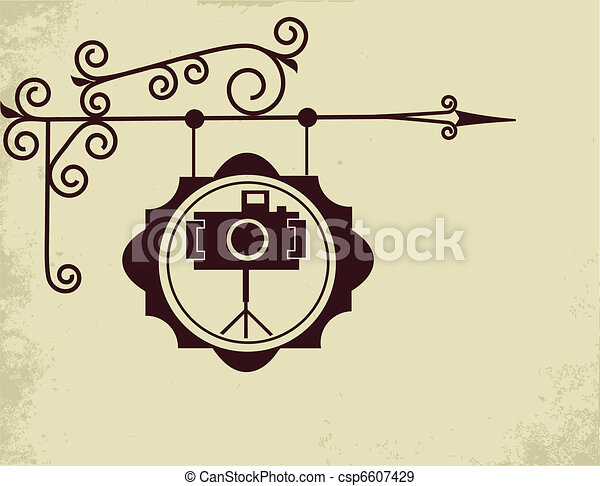 Antique Street Sign Of Photo Store Vector Illustration